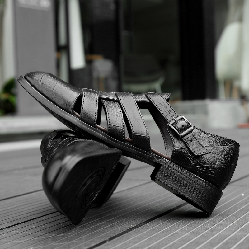 2018 new men's sandals summer fashion men shoes genuine leather - Men's Shoes - Photo 4