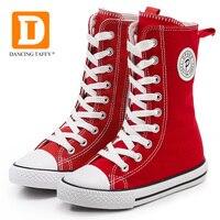عالية قماش الأطفال أحذية الفتيات المطاط حذاء جديد الرقص التشجيع المنتخب الأحمر الأبيض الأسود منتصف العجل الصلبة الاطفال الأحذية