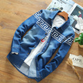 2016 Spring New Casual Jeans Shirt Men Slim Fit  Printed Camisa Denim Hombre Good Quality Trendy Design Chemises En Denim Homme