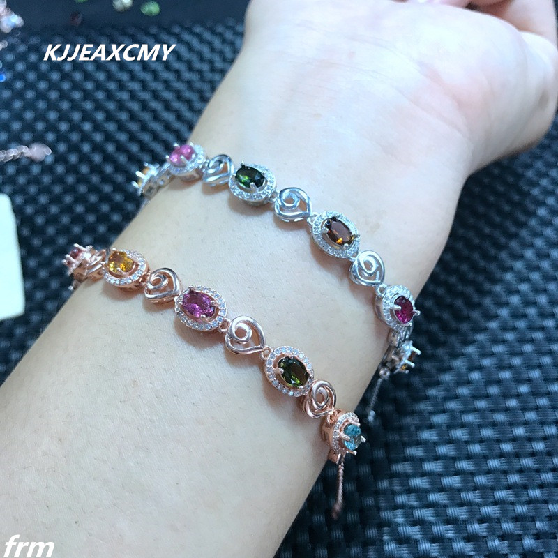 KJJEAXCMY Fine jewelry Natural tourmaline 925 silver inlaid in kind photos, new sterling silver bracelet bracelet wholesale
