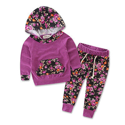 New Autumn Winter Floral Baby Girls Warm Infant Clothes Set Purple Hooded Tops+Pants 2PCS Outfits Set floral baby girls clothes long sleeve sweatshirt pants outfits 2pcs hooded clothes set