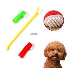Pet Supplies 1 Double Headed Oral Toothbrush 2 Finger Brushes Dental Hygiene Pet Brush Set N28