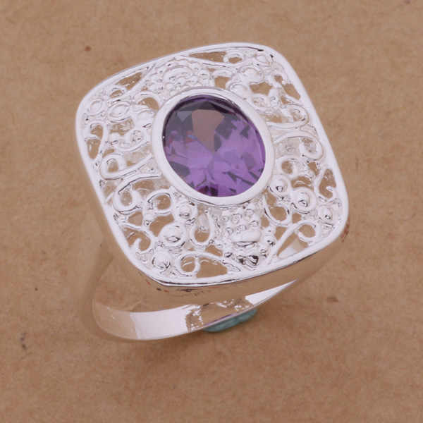 AR259 925 sterling silver ring, 925 silver fashion jewelry, Carve patterns inlaid stone /amyajefa alvajdca