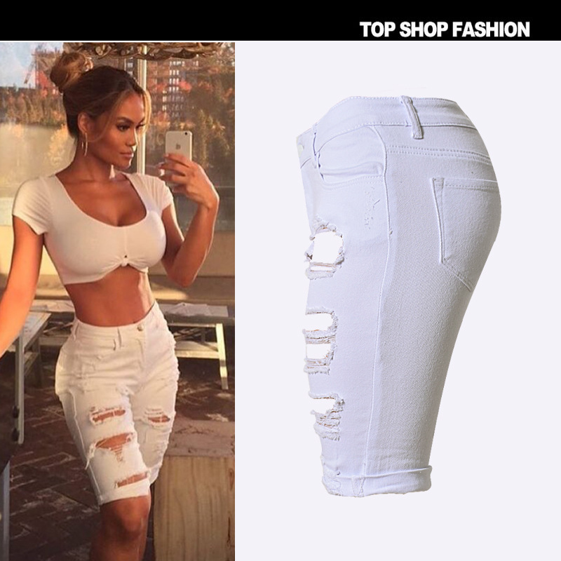 24f57d2fd39 US $23.5 |ripped jeans for women high waist shorts denim american apparel  distressed plus size jeans women elastic waist denim sexy shorts-in Shorts  ...