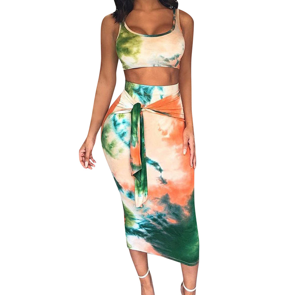 27c892e8df00 Summer Plus Size 2 piece Set Women dye set Bandage Sleeveless Crop Top Skirts  set Printed