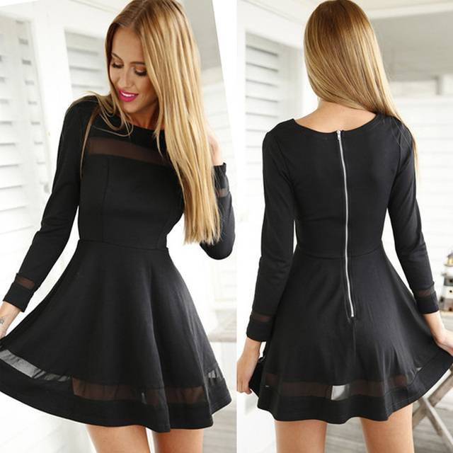 712b20f52ba41 Graduation Homecoming Women s Cocktail Prom Fit Flare Tunic Little Black  Dress