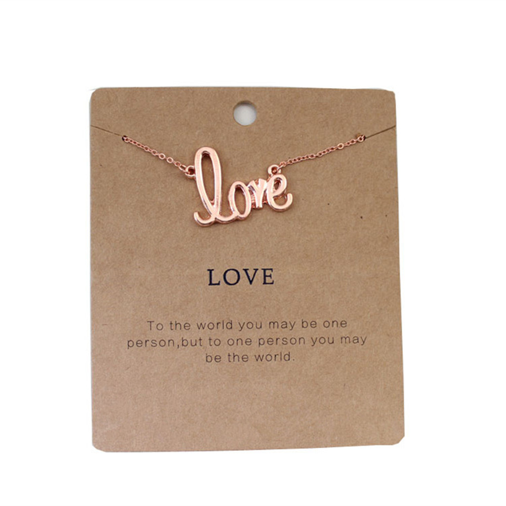 Europe and the United States foreign trade jewelry wholesale LOVE rose gold necklace collarbone chain short girl
