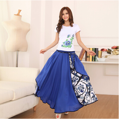 New Women 2016 Summer Autumn Quality Patchwork Floral Prints Art Vintage Pleated Folk Ethnic Irregular Long Skirts Free Shipping