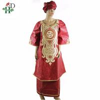 H&D robe african traditional femme 2019 bazin dress for women in clothing embroidered pattern skirt two piece set jupe africaine