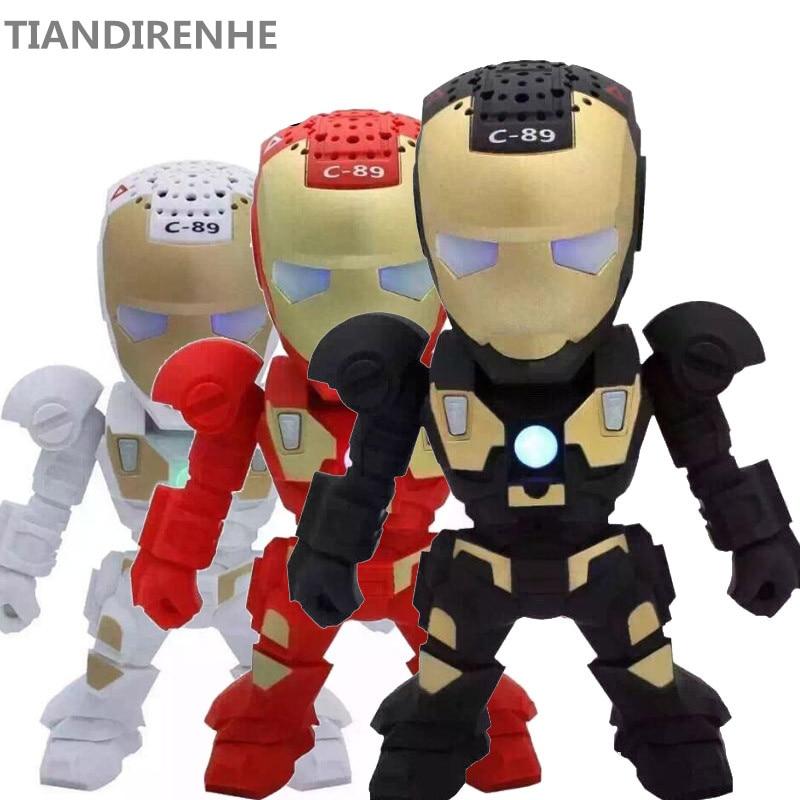Newest Bluetooth Wireless Speakers Portable Mini Speaker Iron Man with LED Flashing Light Stereo Hifi Sound Box TF USB MP3