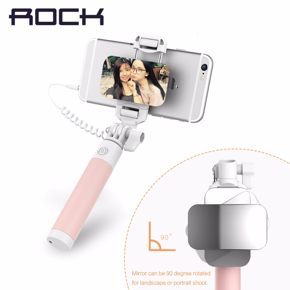 ROCK Universal Mini Mirror Selfie Stick for IOS/ Android Luxury Phone Wired Selfie Stick Phone Holder Camera Para Monopod