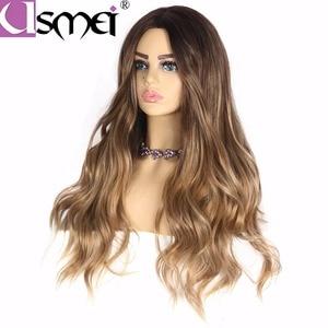 Image 3 - USMEI perruque synthétique cosplay longue ondulée de 26 pouces, faux cheveux blonds bruns, noirs, roses pour femmes, faux cheveux ombré, 7 couleurs au choix