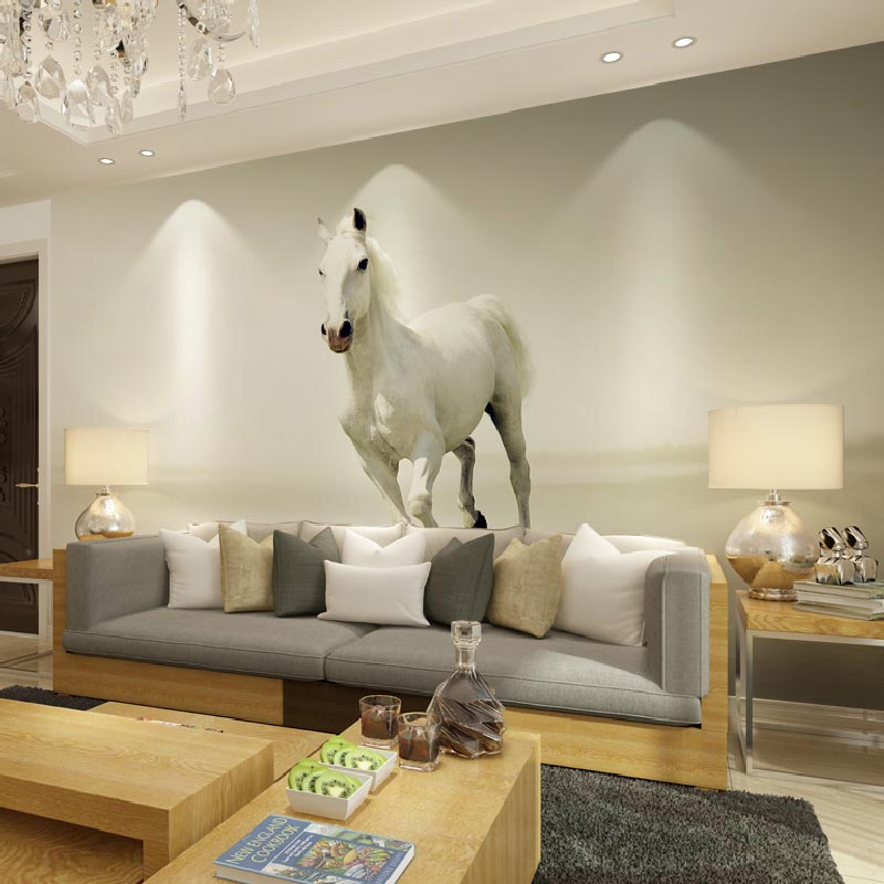 Home office decor Wall papers white horse photo wallpaper murals for living  room bedroom wall  self adhesive vinyl optional  in Wallpapers from Home. Home office decor Wall papers white horse photo wallpaper murals