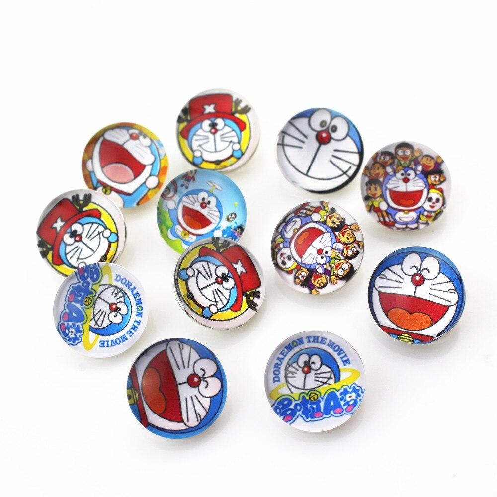 Hot selling Mix 20pcs/lot Doraemon cartoon cat Snap Button pretty Glass Snap Buttons Fit bangle 18mm DIY Snap Bracelet Jewelry