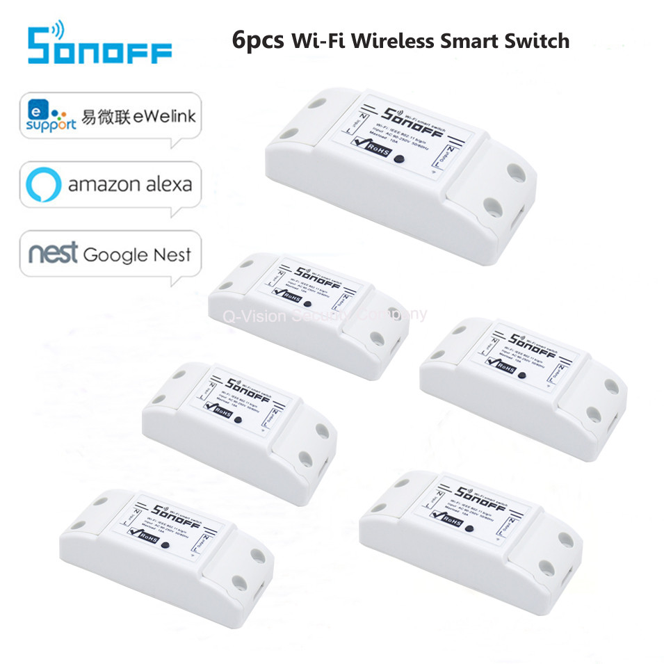 6pcs Sonoff Wifi Switch Universal Smart Home Automation Module Timer Wireless Switch Remote Control Via IOS Android 10A / 2200W