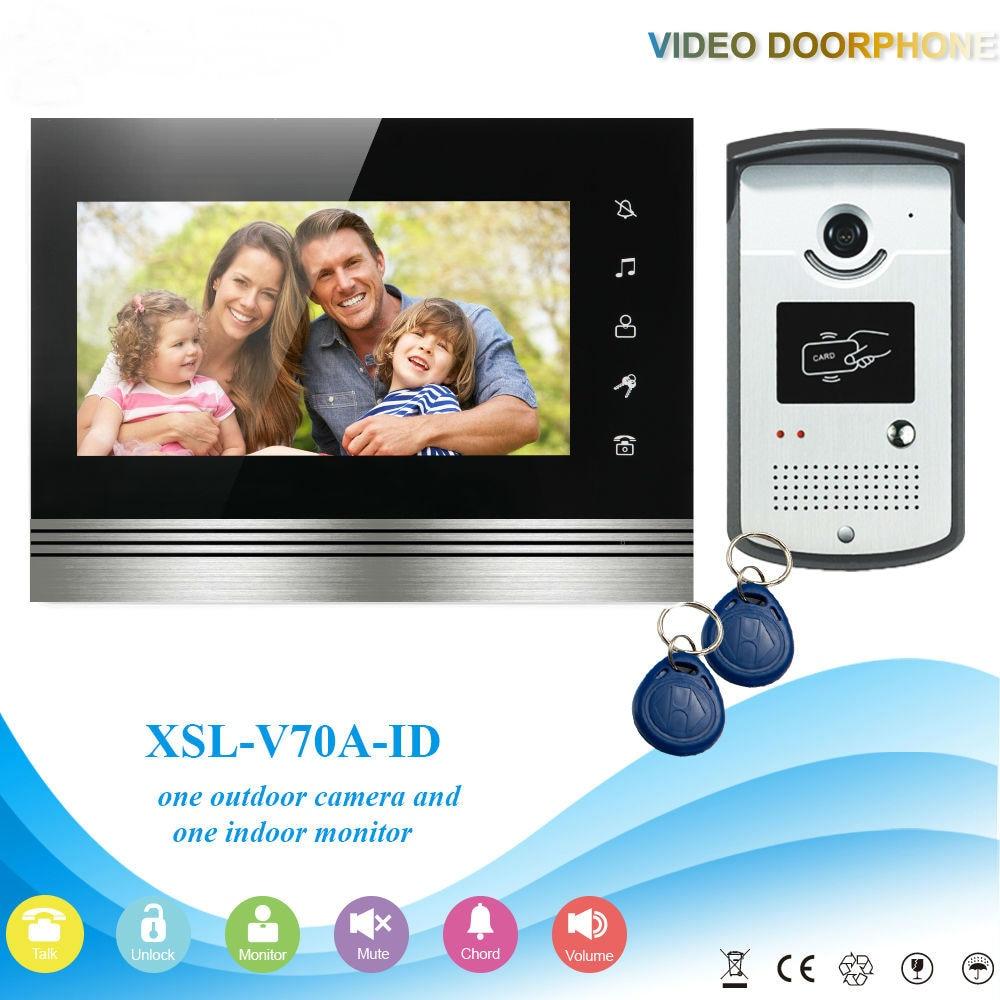 SmartYIBA Video Intercom System Kit 7 Inch Door Monitor Video Door Phone Intercom 700TVL Recording 2GB SD Card Talk