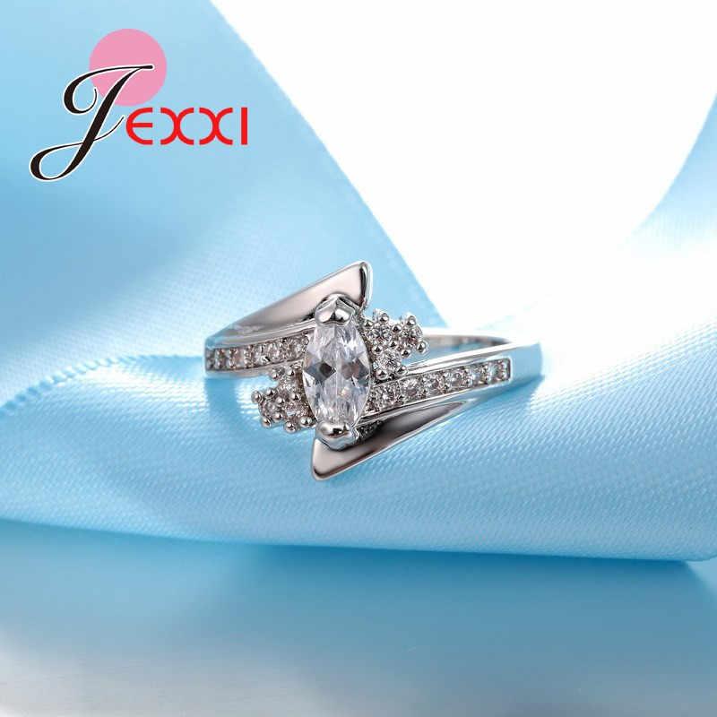 新到着かわいい光沢のある女性のためのキュービックジルコニアリングビッグ割引 925 スターリングシルバー宝石類のギフト送料無料