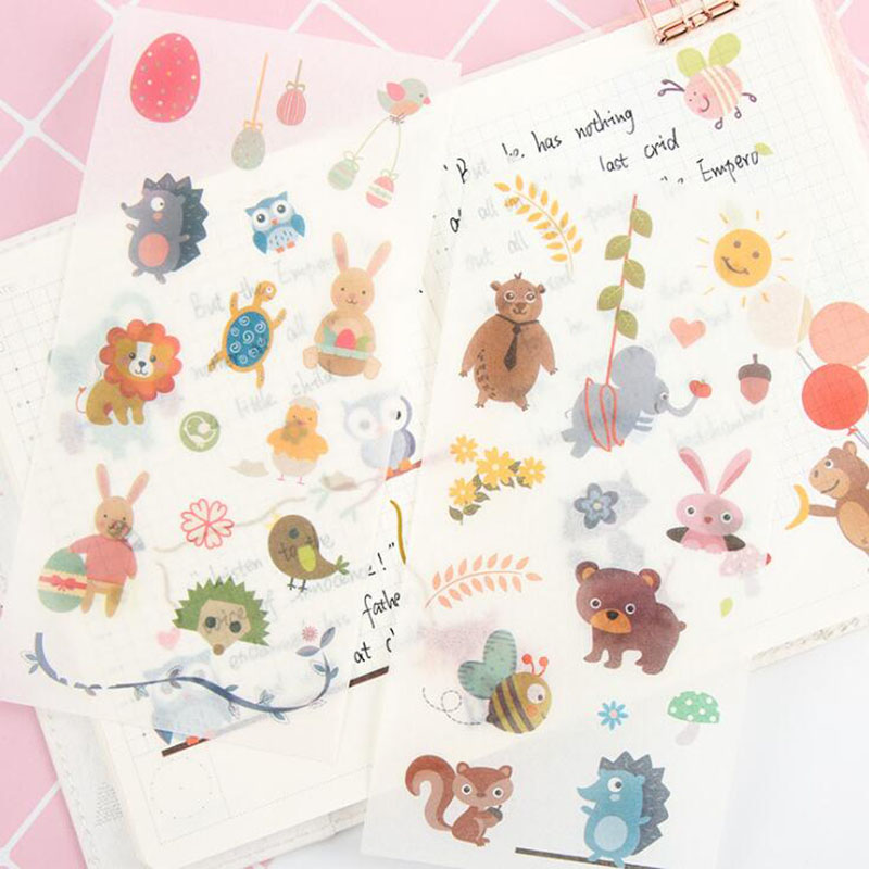 6 Pieces/bag. Innocence/pvc Transparent Stickers Student Creative Cartoon Stationery Diy Decorative Notebook Paper Scrapbook