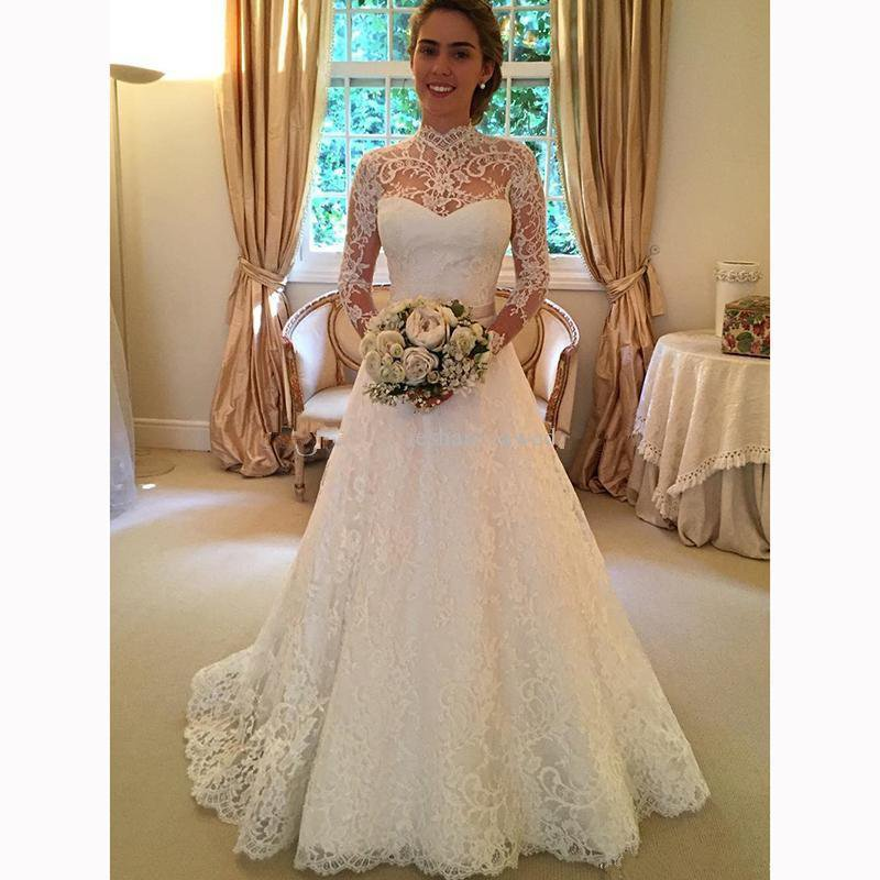2019 New Sheer High Neck Lace Wedding Dresses Long Sleeves Princess Formal Bridal Gowns with Keyhole Back - 2