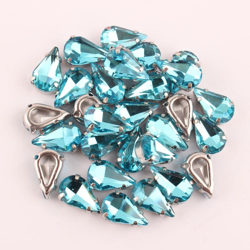 Aquamarine Tip-water Drop shap 6x10mm 100pcs/lot Sew On k Silver claw Rhinestone, crystal glass Rhinestones for DIY Dress