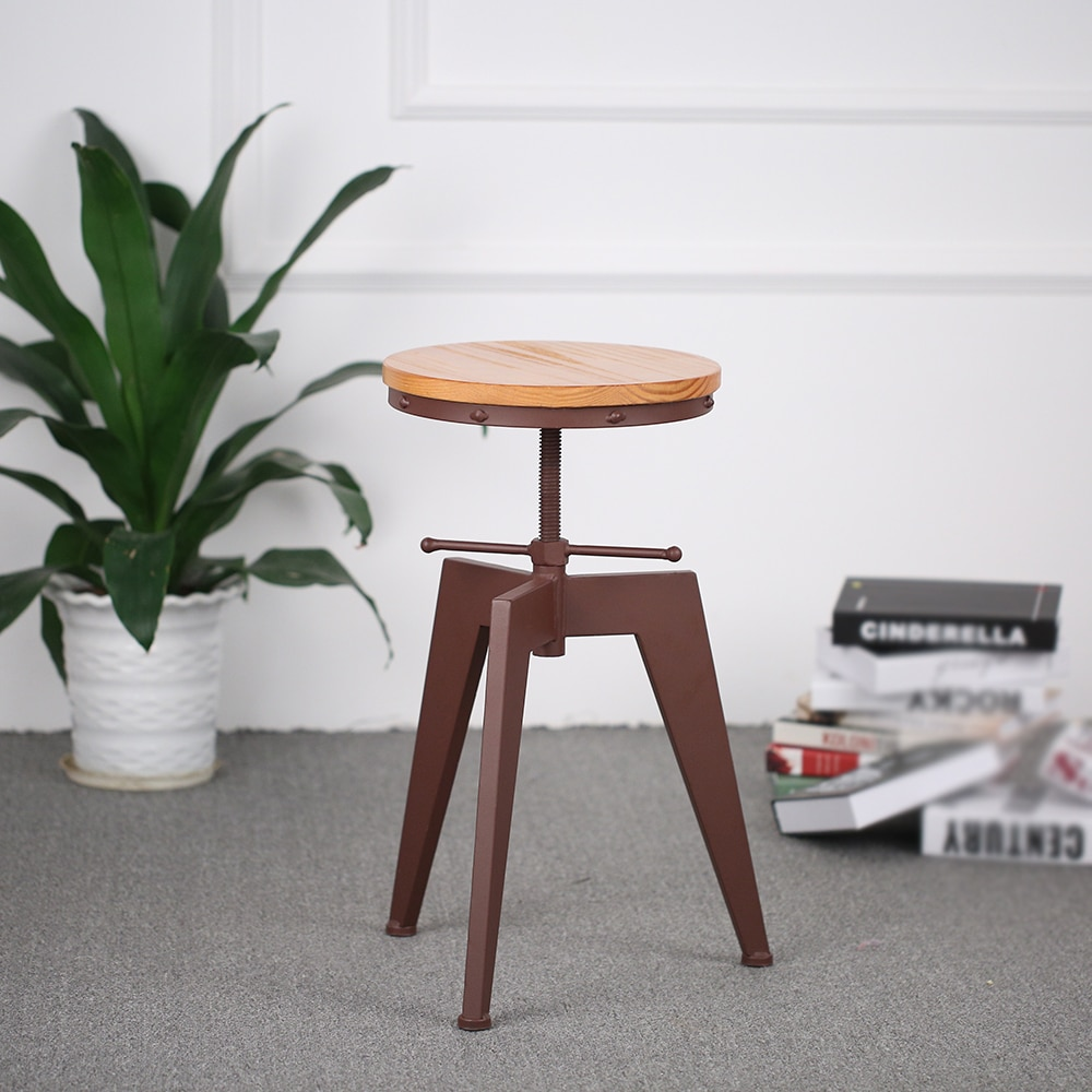 Metal Height Adjustable Swivel Industrial Style Bar Stool Pinewood Top Kitchen Dining Chair Barstool