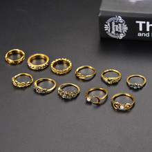X&P 11pcs/Set Boho Vintage Punk Antique Flower Carved Midi Finger Silver Rings For Women Bohemian Knuckle Ring Set Jewelry