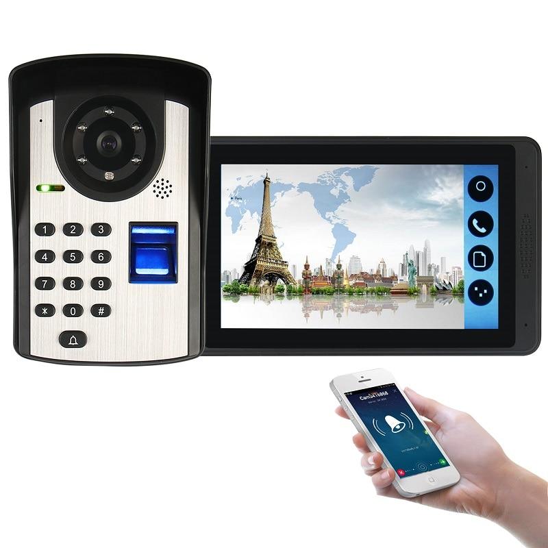 SmartYIBA Smart Wired Video Intercom WIFI Remote Connection Fingerprint Password App Remote Unlock IP55 Rainproof Home Security