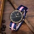 Uwood 100% Natural Puro Nylon Band Negro Sandal Wood Reloj de Cuarzo Analógica Original De Madera Relojes Para Las Mujeres Reloj de pulsera de Regalo