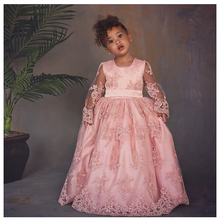 Pink Tulle Flower Girl Dress Birthday Wedding Party Holiday Appliques Bow Communion Dresses Pageant Gown For Girls Vestido pink tulle flower girl dress birthday wedding party holiday appliques bow communion dresses pageant gown for girls vestido