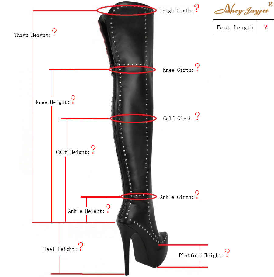 0c7338e3b157 Genuine Leather Custom Made Long Boots Fetish Platform Thigh High Over knee  Rivets Ladies Shoes Woman