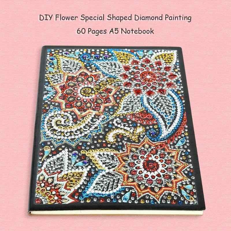 Bricolage spécial en forme de diamant peinture carnet de notes journal 60/100 Pages A5 cahier broderie diamant point de croix artisanat cadeau