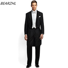 bespoke groom tuxedo long tail for 2017 custom made suits men bridegroom suit 3 piece dress fashion