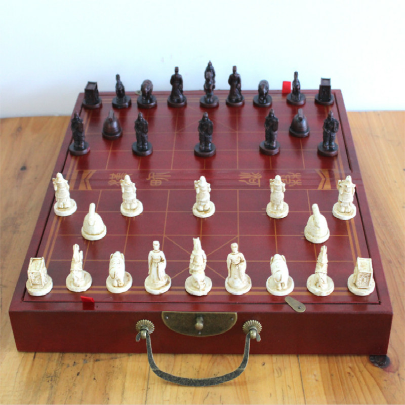 33*18*9CM Three dimensional Chinese chess folding chess board Terracotta Army Chinese chess pieces / parent-child gift chinese chess 2 thick double faced laser line bamboo dual board set child 331 1pcs lot