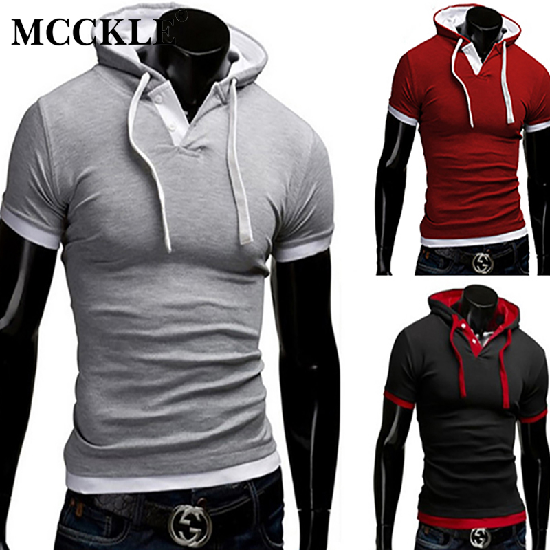 MCCKLE Slim Fit T Shirt Men Hooded 2018 Summer Short Sleeve T-shirt Fashion Button Collar Solid Casual Male Tops Tees