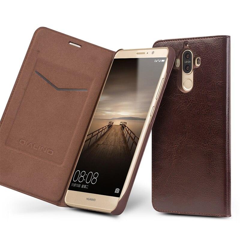 bilder für QIALINO Fall für Huawei Ascend Taube 9 Handarbeit Aus Echtem Leder Abdeckung für Huawei Taube 9 Luxury Ultra Slim Flip Fall 5,9 holster