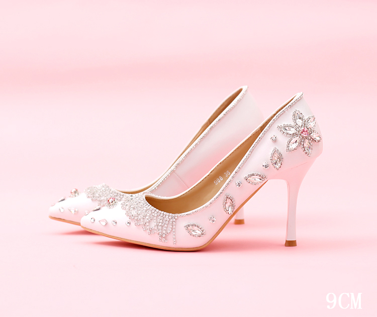 ФОТО Pink crystal princess Shoes shallow mouth pointed toe White rhinestone Bridal Shoes Women's thin Heels Shoes Wedding Shoes party