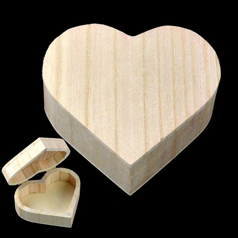 Storage Box Heart Shape Wood Box Jewelry Box Wedding Gift Makeup Cosmetic Earrings Ring Desk Rangement Make Up Wooden Organizer
