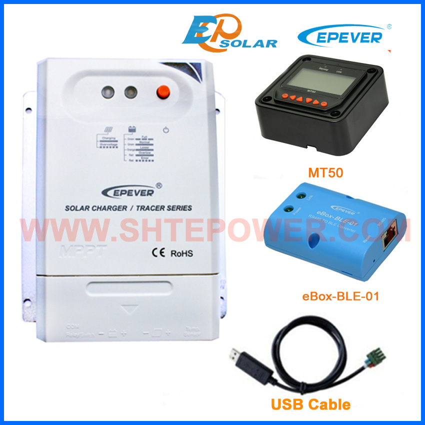 Bluetooth function APP use EPEVER solar battery charge controller BLE BOX USB cable and meter MT50 Tracer2210CN 20A 20a daul battery solar charger controller duo battery charge controller with remote lcd meter mt 1 meter 1 for rvs boat golf bus
