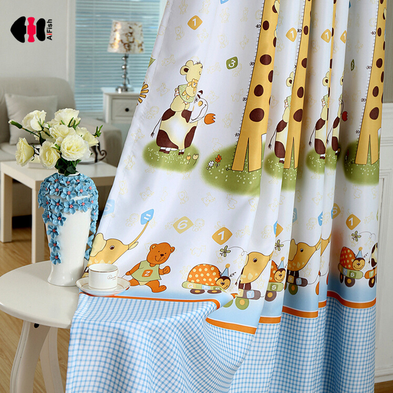 Cartoon Giraffe Curtains For Children Thick Blackout Cloth Curtains Sheer Drapes Kids Curtains For Children's Rooms WP026B