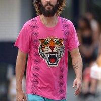 Men T shirt Embroidery Tiger Head Eyes Printed Short Sleeve T Shirts Summer Mens Streetwear Tops Tees Hip Hop Cotton Tshirts