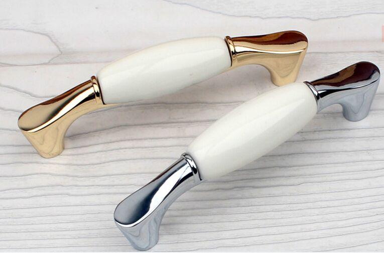 96mm blanc en céramique commode poignées tire boutons bronze argent goldern armoires de cuisine tiroir tire boutons moderne rétro poignées - 4
