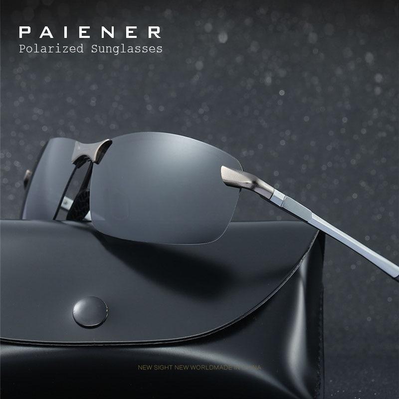 2017 Classic marca polarizadas Gafas de sol hombres mujeres conducción Sol vidrio sin montura Sol oculos gafas de sol masculino con Accesorios