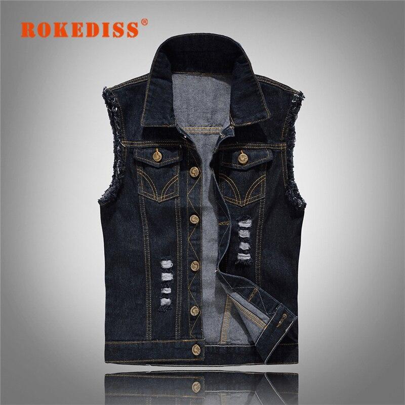 Vintage Design Men s Denim Vest font b Male b font Black Color Slim Fit Sleeveless