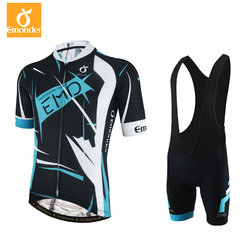 EMONDER Brand New Cool Cycling Jersey Set Short Sleeve Sportswear High Quality Fabric Summer Bike Cycling Clothing Ropa Ciclismo