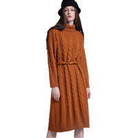 Fashion Winter women Thickening warm twist knitted sweater dress with pocket,solid Autumn casual long sweater dress black red