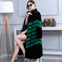 Winter Long Faux Fur Coat High Quality Women Fashion New 2019 Arrival Women Clothing Black And Green Contrast Color Fake Fur