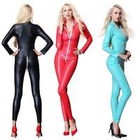 Fashion Plus Size Punk Leather Lingerie Body Shaper bodysuit Sexy Women Black PU Leather Teddy Lingerie PVC Latex jumpsuits