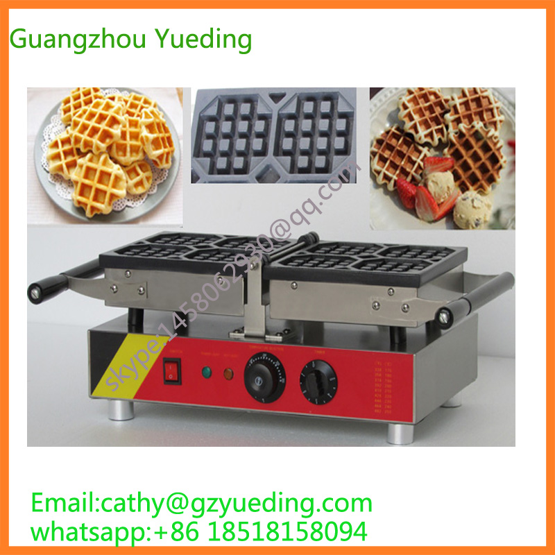 Double head 4 pieces swing rectangle belgian waffle maker directly factory price commercial electric double head egg waffle maker for round waffle and rectangle waffle