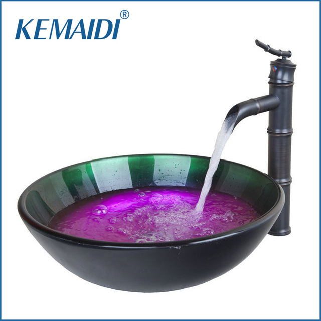 New Bathroom Faucets Hand Painted Wash Basin Round Tempered Glass