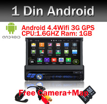 Free Camera+Map 7 Inch 1 Din Android 5.1 OS Universal Car DVD Player Bluetooth Touchscreen GPS Navigation,Radio